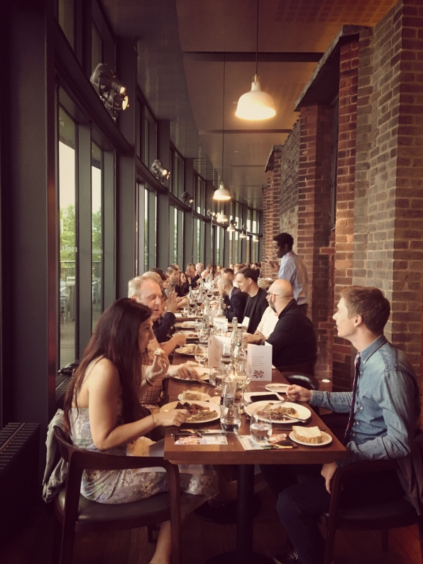 Rooftop dinner one big table